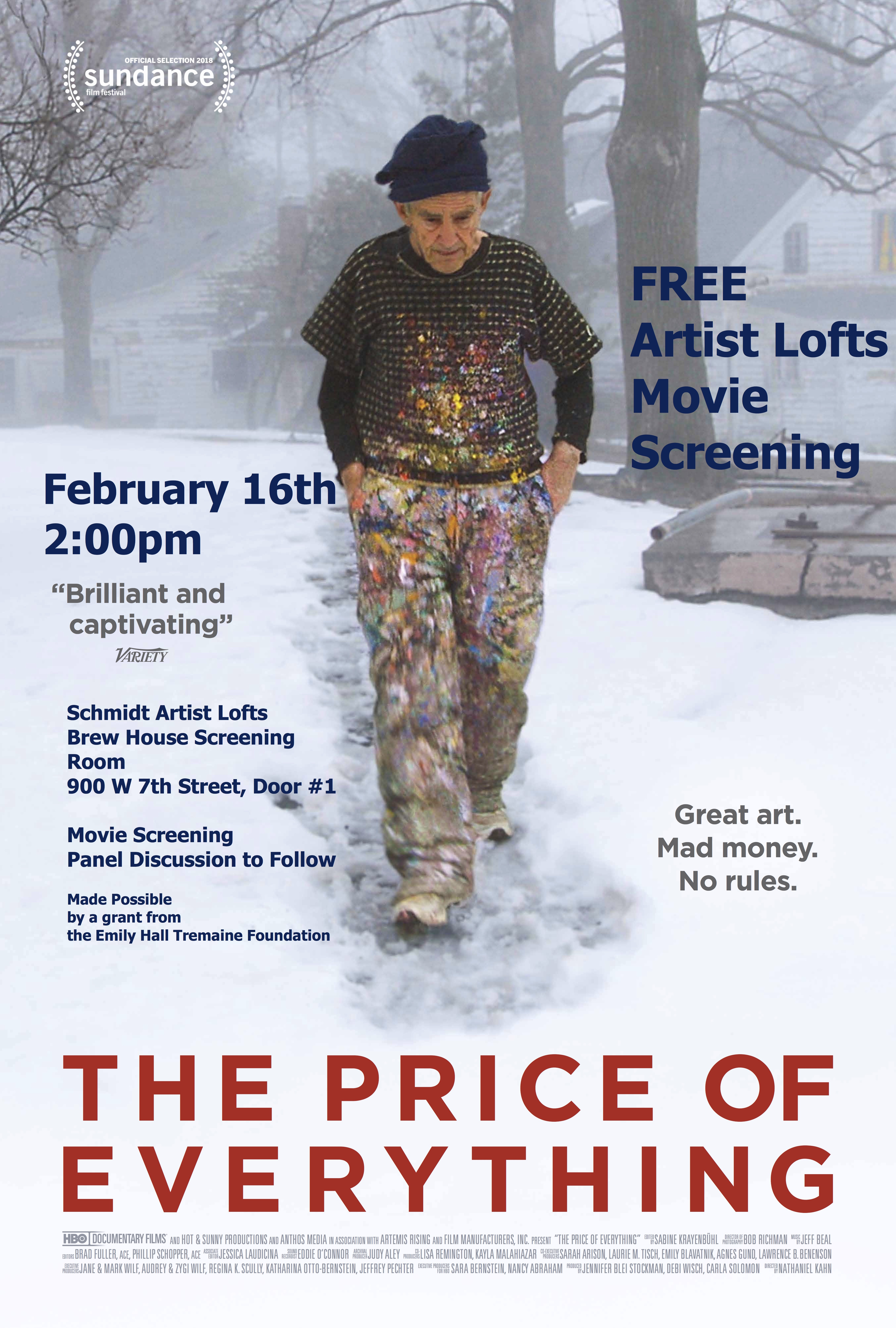 "Free Screen of the Sundance HBO Film ""The Price of EveryThing Feb. 16, 2020"